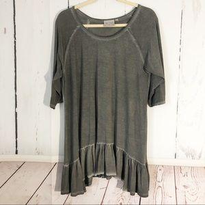 Dantelle • Gray Raw Oil Hem Short Sleeve Tunic